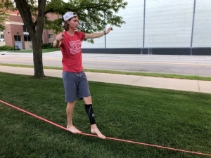 wyatt1 300x225 - Student-athlete finds balance in an uncommon activity: slacklining