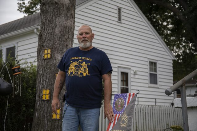 Samuel Popple, a United States Army veteran who served in Iraq from 1988 to 2009, poses for a portrait outside his rental home on Friday, October 4, 2019, in Elkhorn, Nebraska.