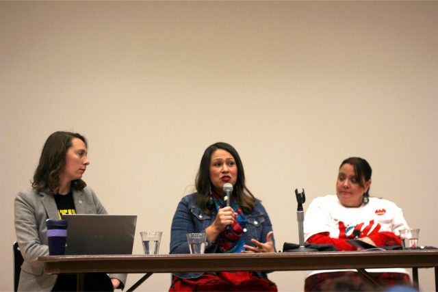 Erin Poor (left), Marisa Cummings (center) and Colette YellowRobe (right) speak as panelists for the Nebraska Human Trafficking and Migration Initiative on Friday, Nov. 8, 2019, in Lincoln, Nebraska.
