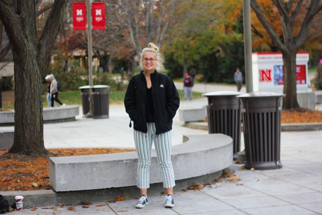 Molly Engebretson, a senior global studies and Spanish double major in the pre-health program at the University of Nebraska-Lincoln, poses for a portrait outside the Nebraska Union on Friday, Nov. 8, 2019, in Lincoln, Nebraska.