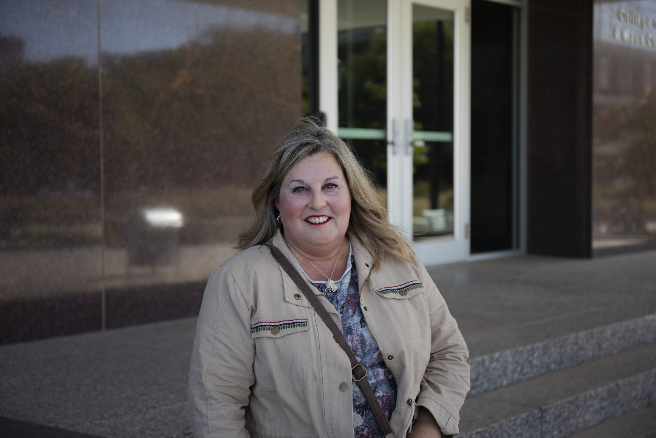 Sharon Robino-West, a United States Marine Corps veteran who served from 1980-84, poses for a portrait outside Andersen Hall on Saturday, Oct. 5, 2019, in Lincoln, Nebraska.