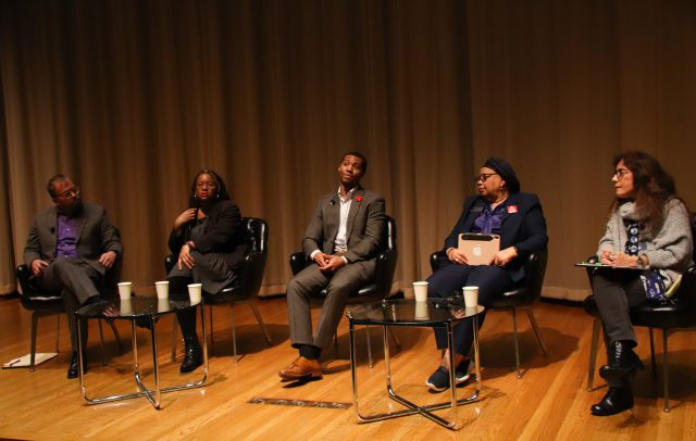 Patrick Jones (left), Jeannette Jones (second to left), DaWon Baker (center), Anna Shavers (second to left) and Amelia Montes (right) speak as panelists in a discussion titled