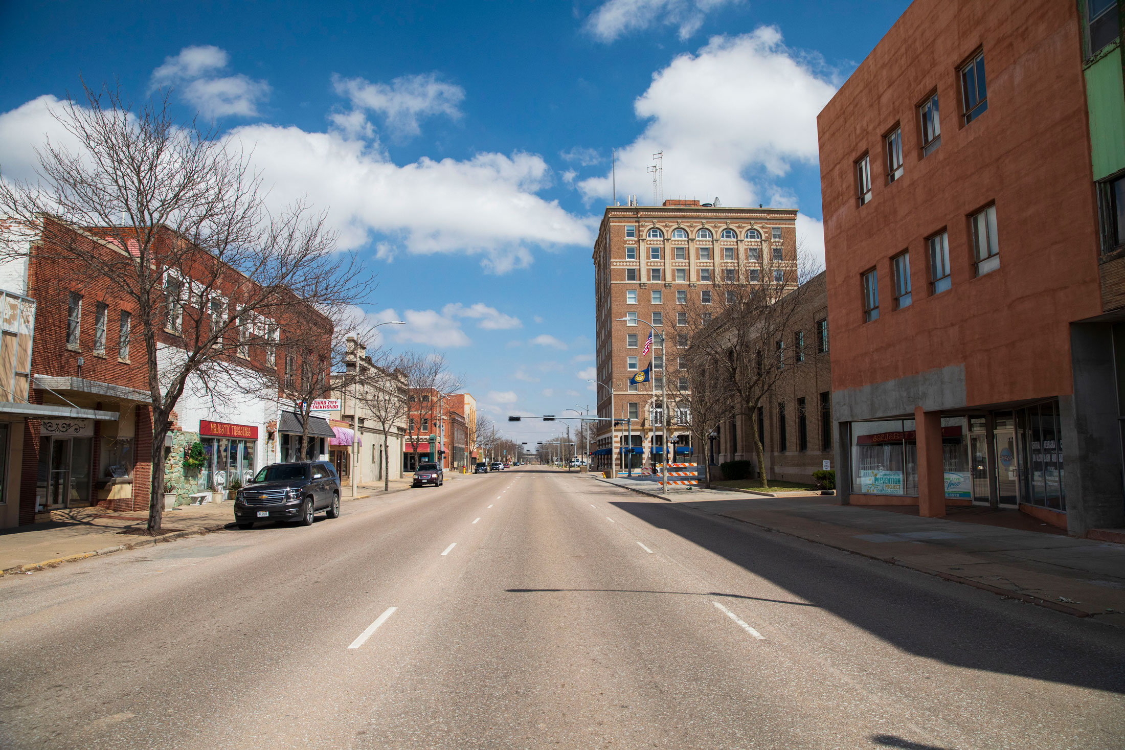 The empty streets of downtown Grand Island on April 6, 2020, in Grand Island, Neb.