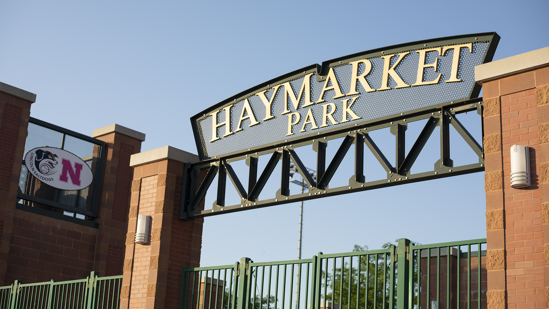 A view of the gates of Haymarket Park in Lincoln