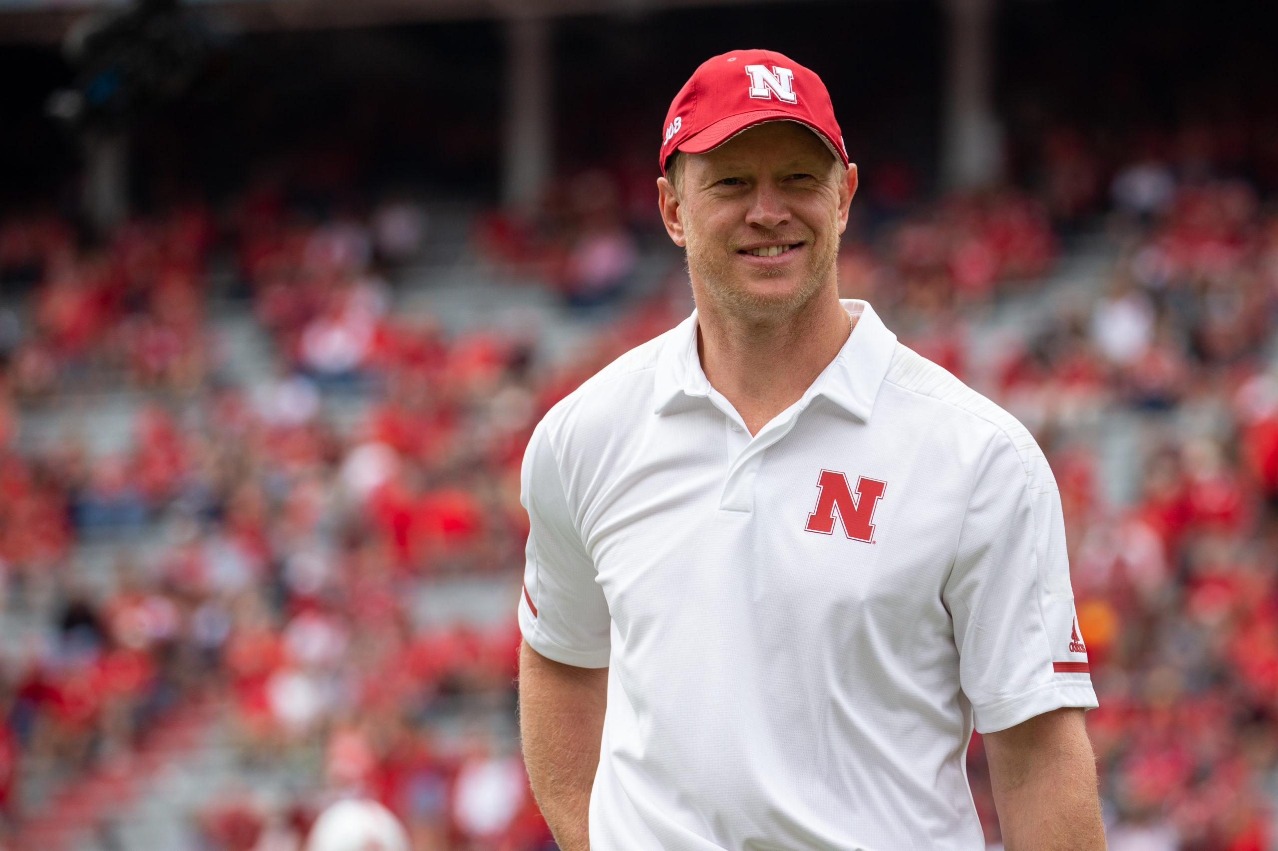 Nebraska Football Head Coach Scott Frost on sideline of game against the University of Colorado in 2018.