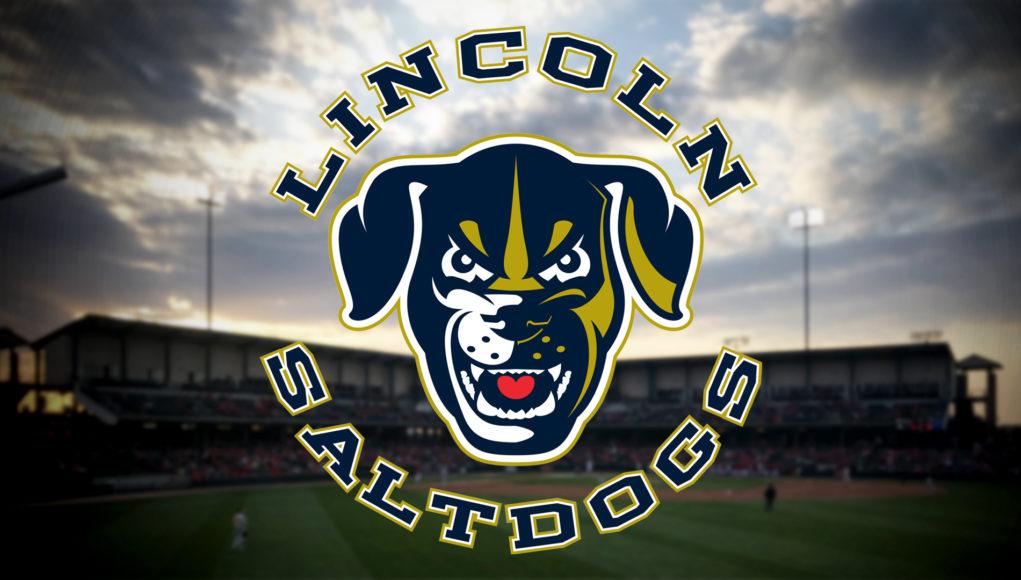 The Lincoln Saltdogs Logo over a Sunset of Haymarket Park