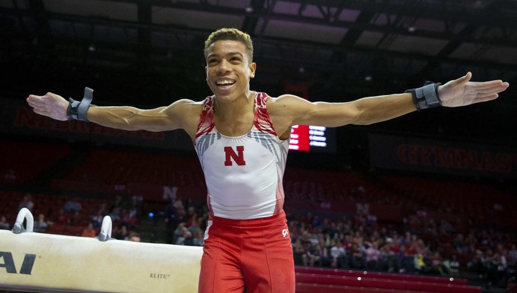Nebraska Gymnast Sam Phillips competes against schools Army & Minnesota