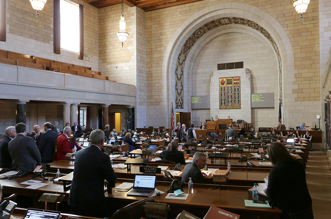 Senators in the legislative chambers of the Nebraska Legislature