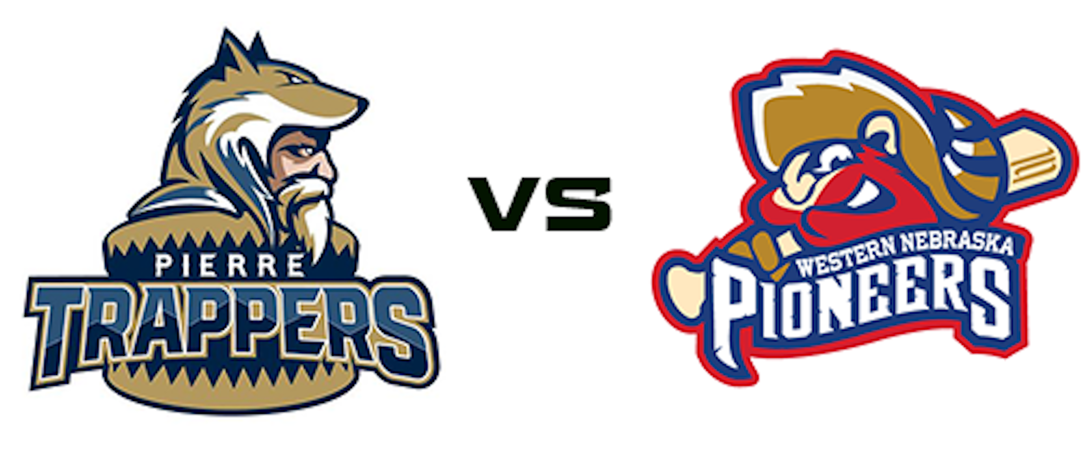 The Pierre Trappers logo faces the Western Pioneers logo.