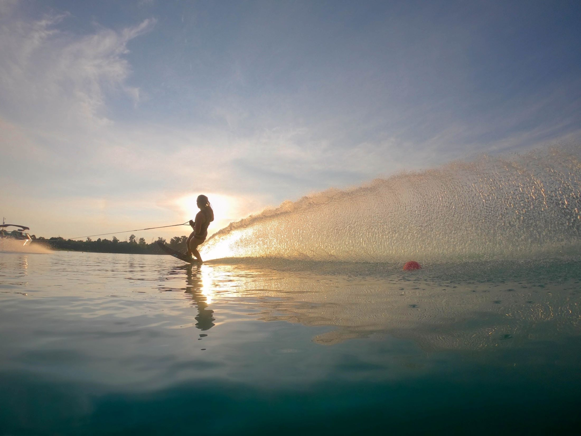Nebraska Water Ski President skiing at sunrise