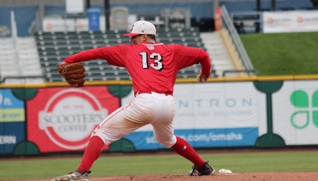 Elkhorn pitcher Trey Frahm delivers a fastball on the mound