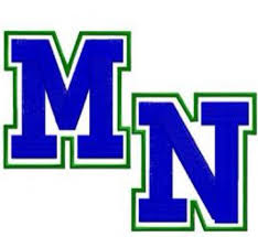 Millard North Logo Blue M and N with Green Trim with the the M diagonal of the N