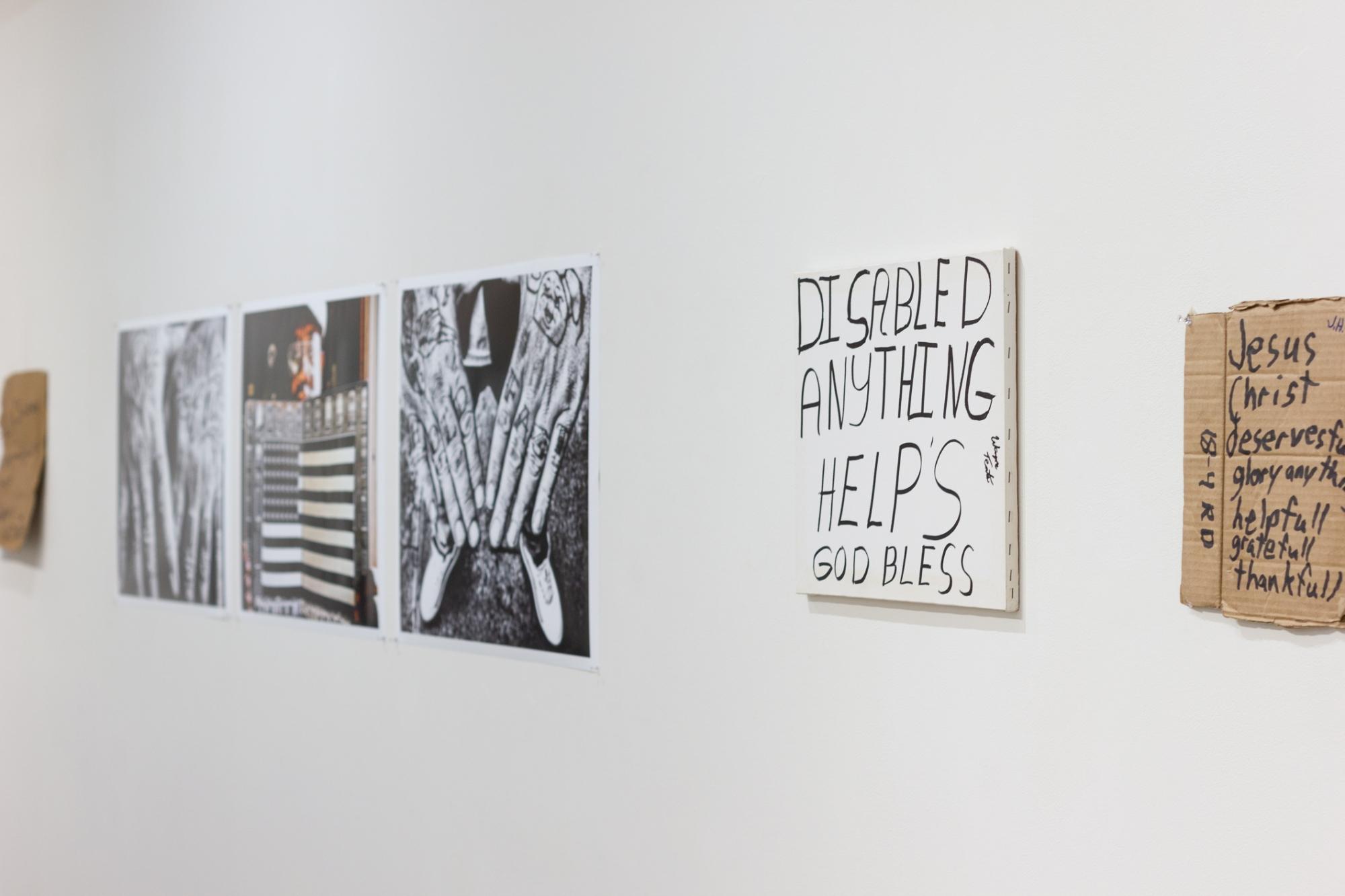 Close-up shot of artworks of
