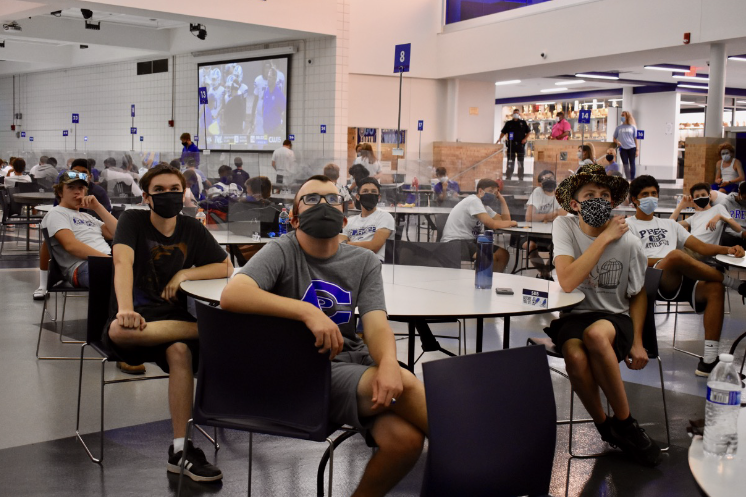 Creighton Prep students have seen many changes to their school year, such as having watch parties for sporting events and safe lunch settings. Photo courtesy of Creighton Prep