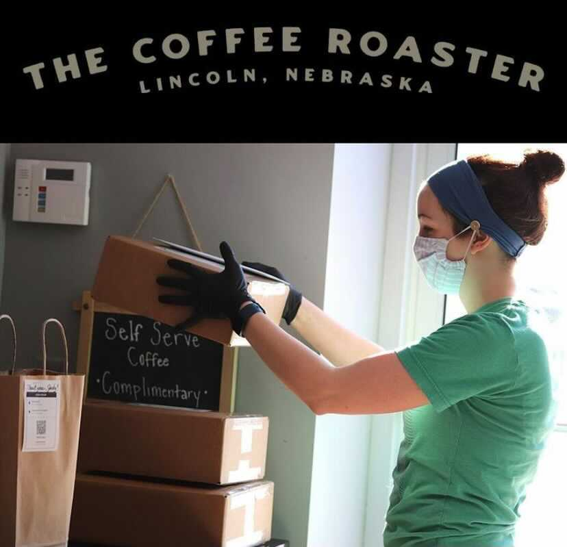 Sam Karnes spends a Saturday in December at The Coffee Roaster packing online orders for the holidays. Photo courtesy of @coffeeroasterlnk