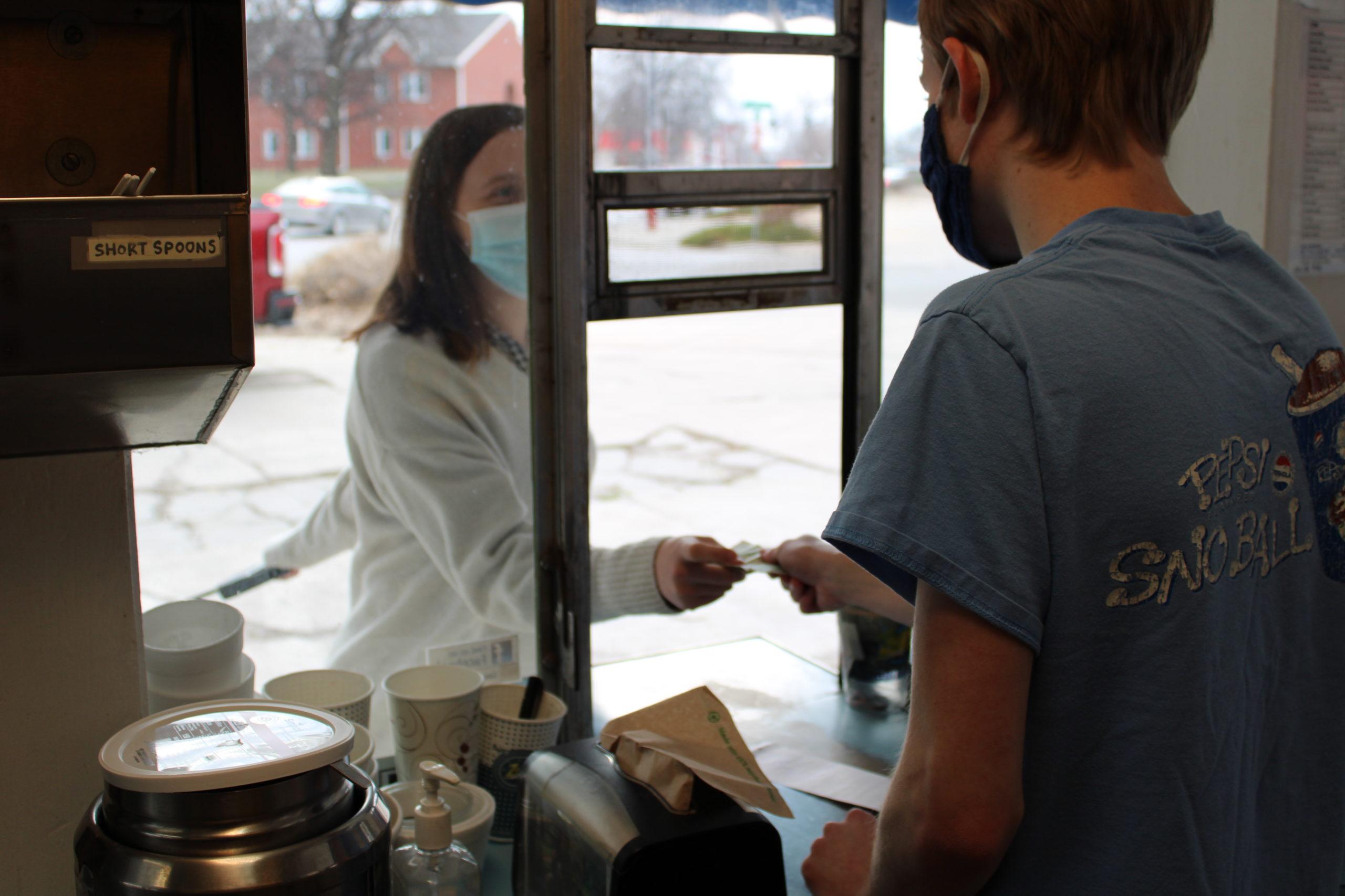 Employee working with customer