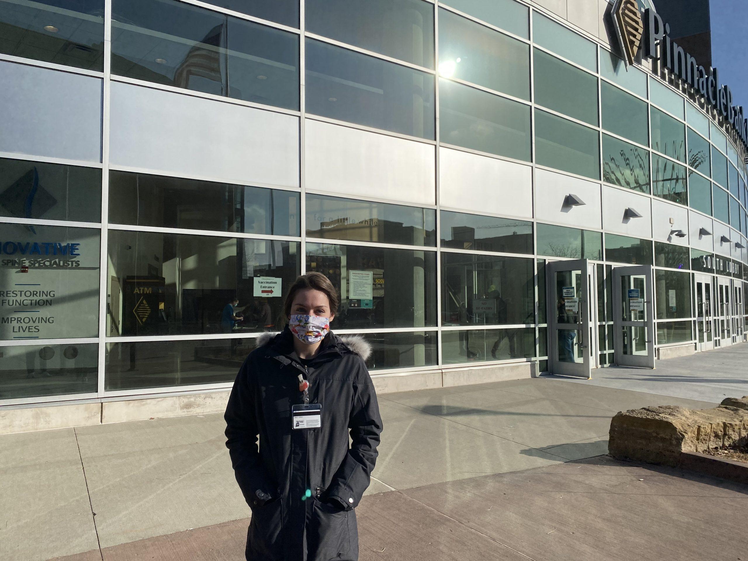 Emily Jundt Outside Pinnacle Bank Arena