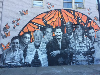 A mural by Mexican American artists David Manzanares, and Kendra Limón, located at 11th and G St. in Lincoln.