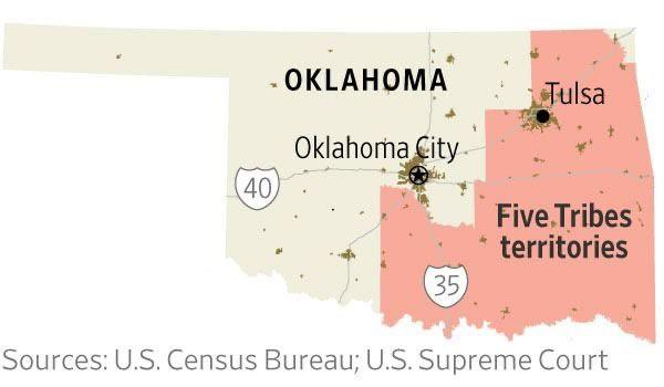Map of land ruled as an Indian Reservation in Oklahoma in McGirt v. Oklahoma (2020). Red shaded area represents territory of the Five Tribes of Oklahoma.