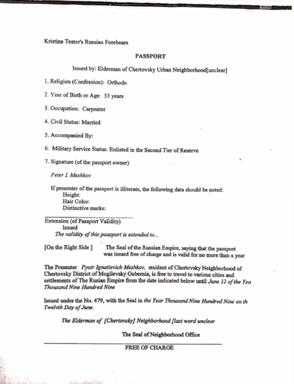 Dr. Garza Fathers Passport English Version copy - Family brings Russian culture to Nebraska