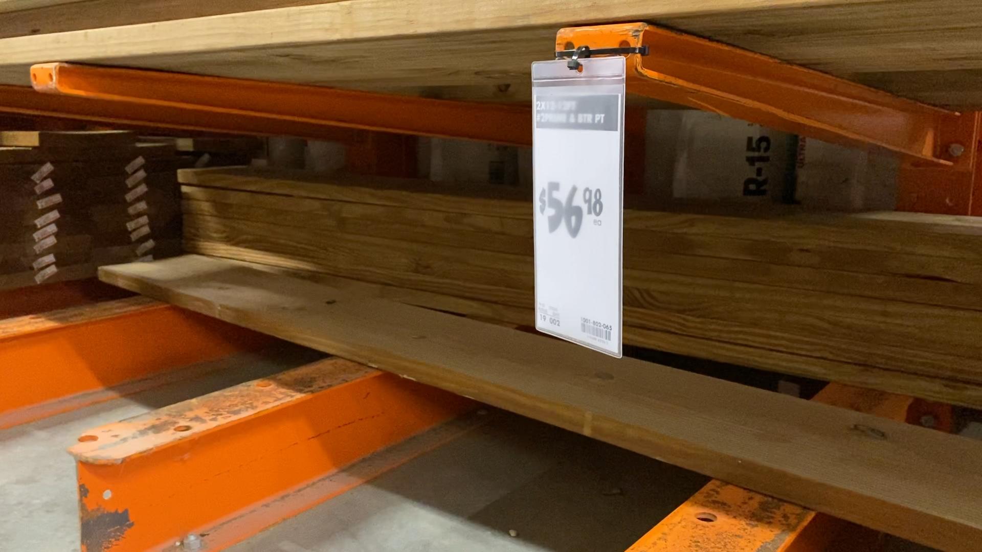 Lumber in hardware store