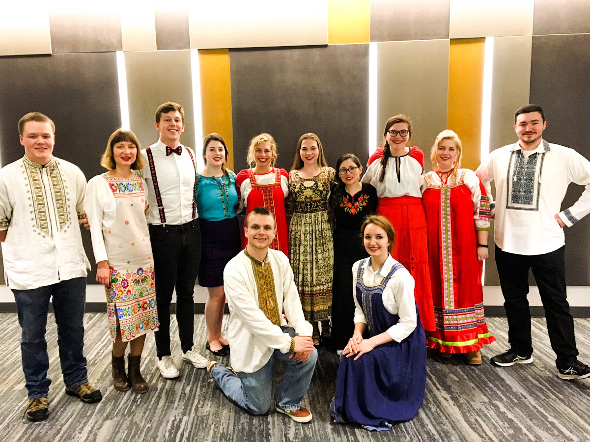 Members at the UNL Russian Club, a student organization for the study and admiration of the Russian language and culture, organized a Russian Fashion Show for local students at UNL. Photo courtesy of UNL Russian Club, November 20, 2017.