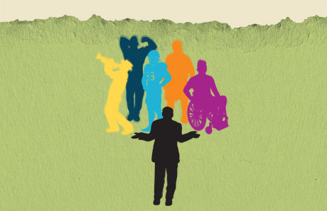Six differently colored silouets of men are standing on what looks like a green piece of paper that has been torn at the top reavealing a cream background. A yellow silouetted man on the left is playing a trumpet and wearing a hat, a navy silouetted blue man is flexing his muscles, a light blue silouetted man is in football gear, an orange silouetted man is in an overcoat, a purple silouetted man is in a wheelchair, and a black silouetted man is standing in front with his arms raised as if shrugging.