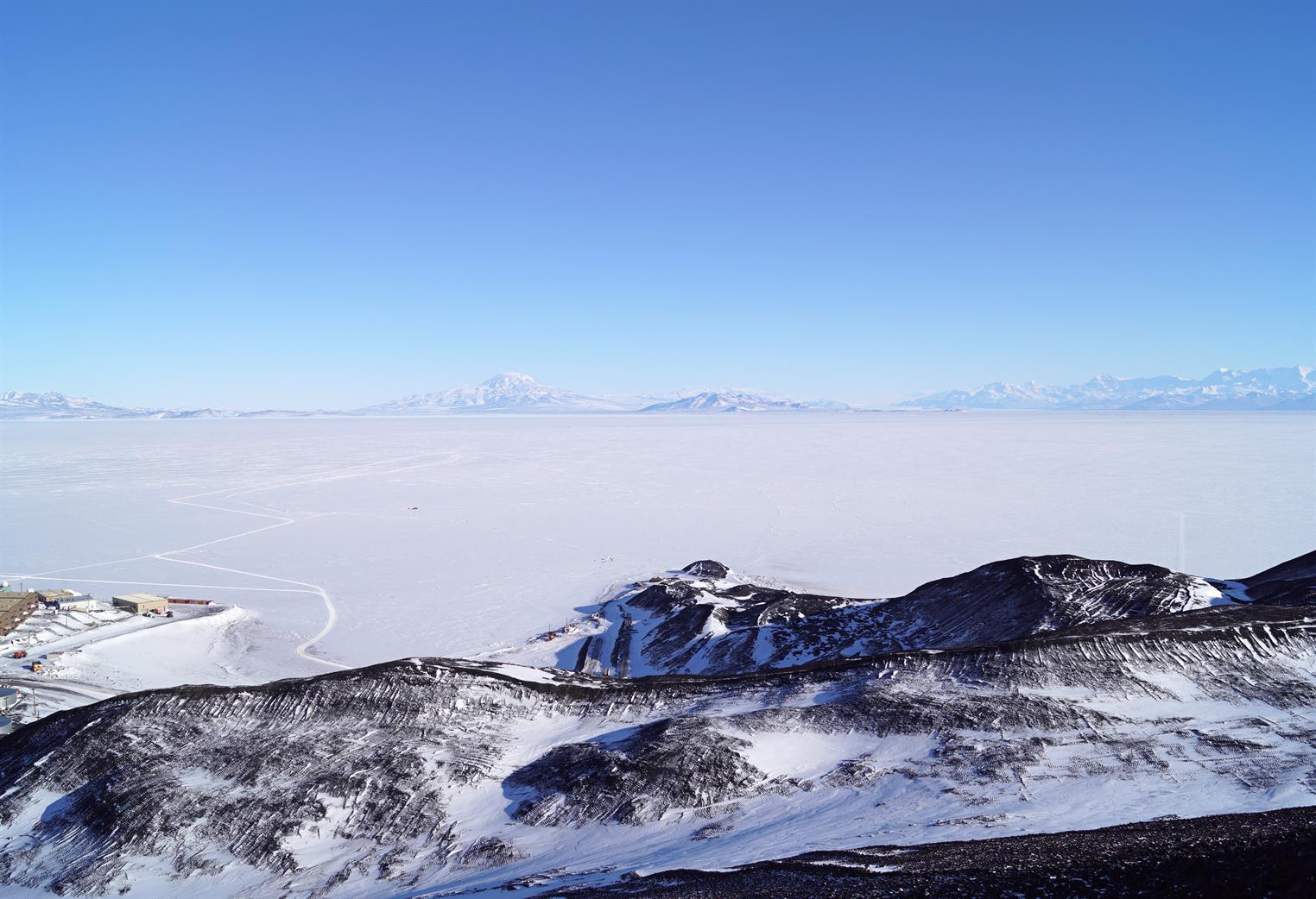A snow-swept vista in Antarctica
