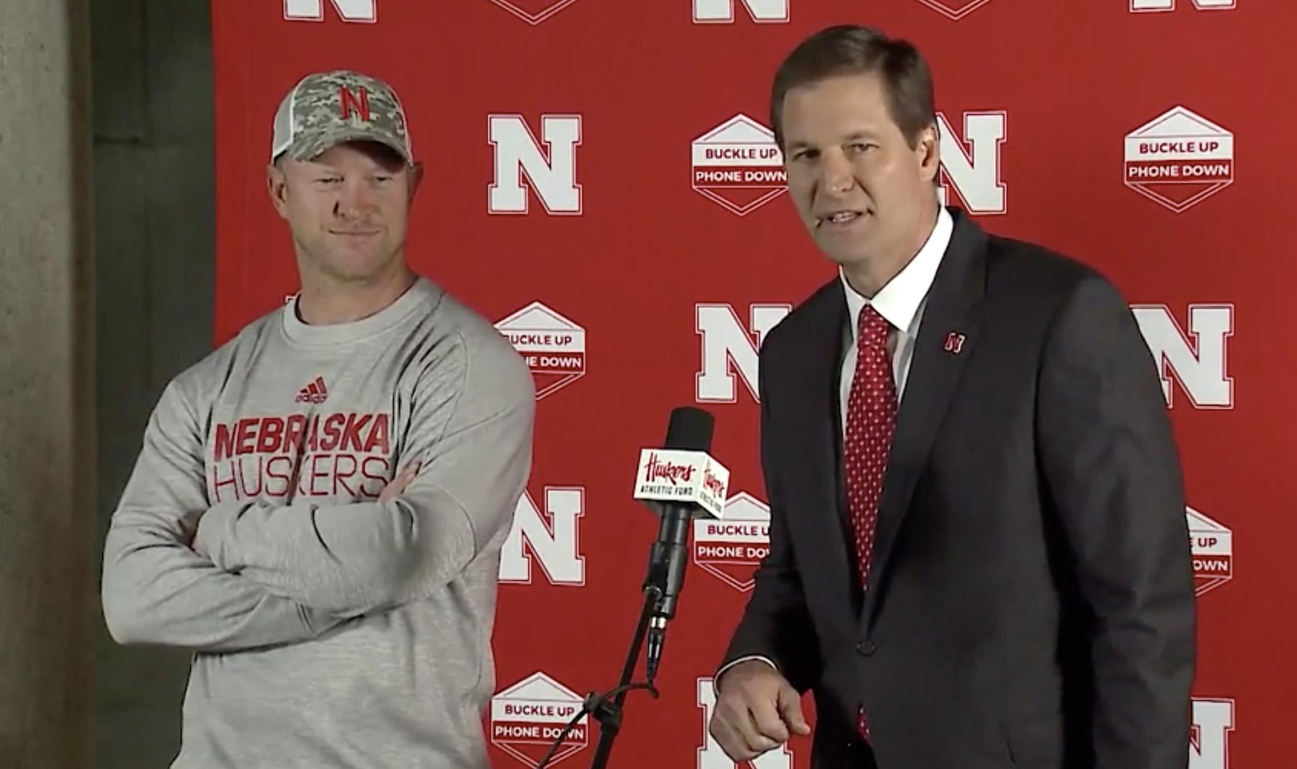 Scott Frost and Trev Alberts addressing the media