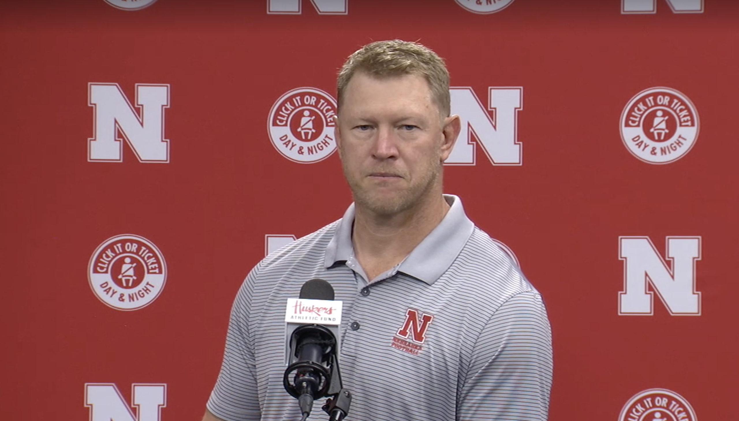 Scott Frost addressing the media