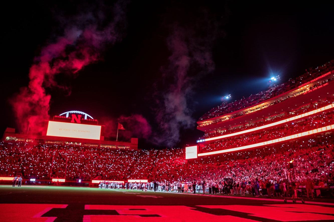 Inside Memorial Stadium during the third quarter light show.