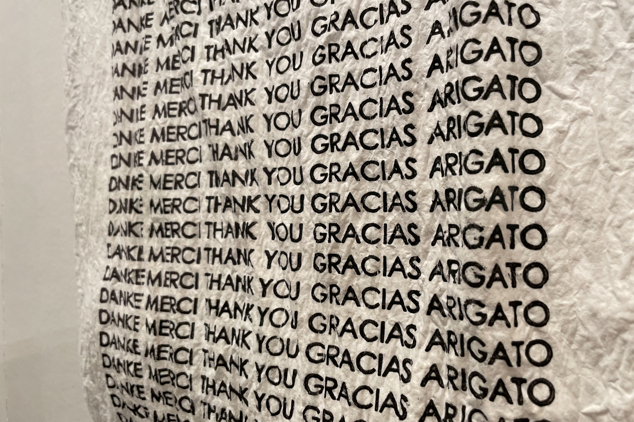"""Close-up of a plastic bag made of pulp with the words, """"Thank you"""" in five different languages."""